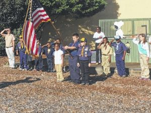 Scouts perform Fall Festival ceremony